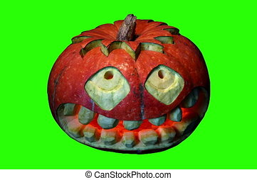 Carved Halloween pumpkin - 4K. Carved Halloween pumpkin...
