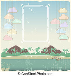 Vintage seaside view poster template. Vector