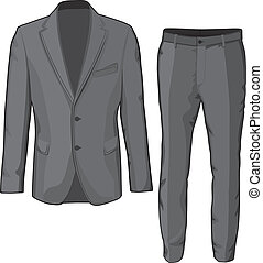 Male clothing suit coat and pants. Vector Illustration.