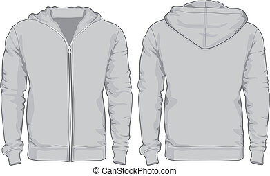 Men's hoodie shirts template. Front and back views. Vector...