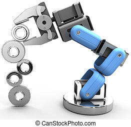 Robot arm technology industrial gears - Robotic arm building...