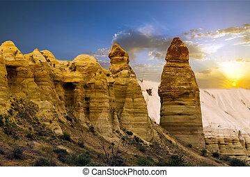 love valley - Sandstone formations in Cappadocia, Turkey...