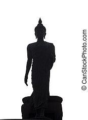 Buddha black on white backgroundbuddha on white isolated...