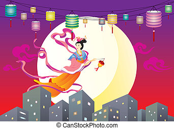 Chinese Fairy flying to the moon il - City, Urban Scene,...
