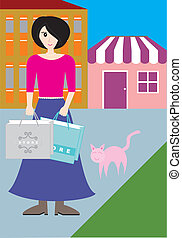 A woman with shopping bag