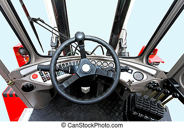 Lifter commands - Driver view from fork lifter vehicle cabin...