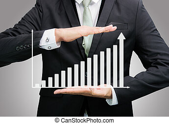 Businessman standing posture hand holding graph finance...