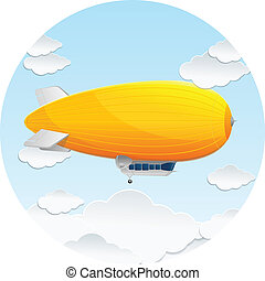 Vector yellow dirigible balloon and clouds icon