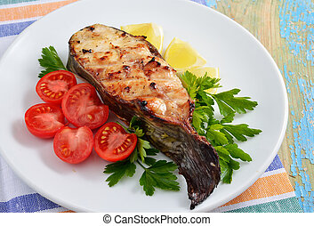 Fish grill on white plate