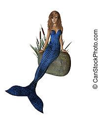 Blue Mermaid Sitting On A Rock - Blue mermaid sitting on a...