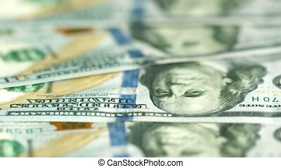 Dollars in large bills closeup US money - UltraHD video -...