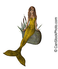 Gold Mermaid Sitting On A Rock - Gold mermaid sitting on a...
