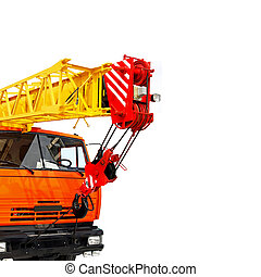 Truck crane - Big mobile truck crane isolated on white