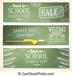 Set of school banners with sample text place for your...
