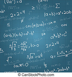 Mathematical formulas vector seamless pattern on blueprint....