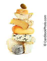 Stack of assorted cheese isolated on white background