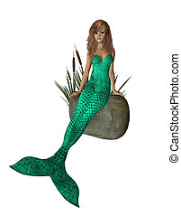 Green Mermaid Sitting On A Rock - Green mermaid sitting on a...