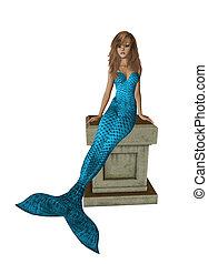 Baby Blue Mermaid Sitting On A Pedestal - Baby blue mermaid...