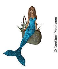 Baby Blue Mermaid Sitting On A Rock - Baby blue mermaid...