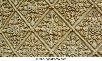 Traditional ornament on a stone wall. Cambodia, Phnom Penh -...