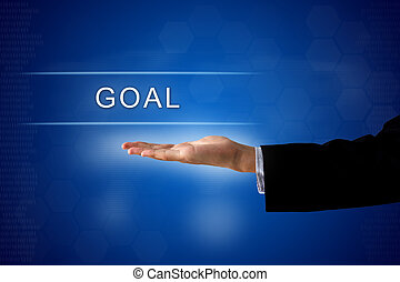 goal button on virtual screen - goal button with business...