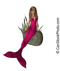 Pink Mermaid Sitting On A Rock - Pink mermaid sitting on a...