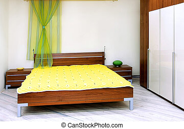 Wooden bed - Interior shot of bedroom in brown wood