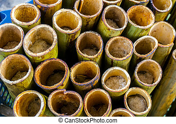 """Lemang"" in a hollowed bamboo stick - ""Lemang"" already..."