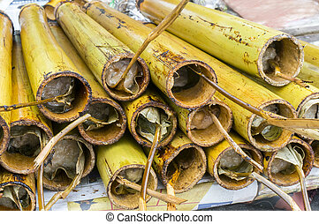 quot;Lemangquot; in a hollowed bamboo stick - Lemang already...
