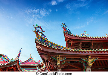 Chinese dragon statue - Chinese ancient buildings of the...
