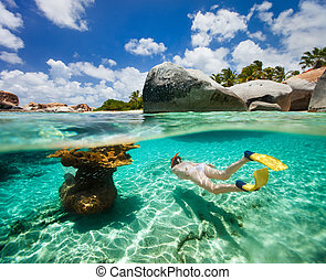 Woman snorkeling in tropical water - Split photo of young...