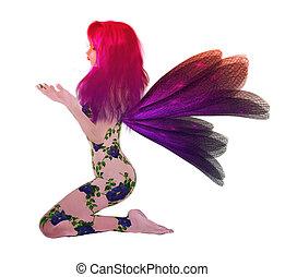 Rainbow Flower Fairy - Rainbow flower fairy sitting down