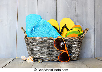 Summer - Beach accessories on wooden background