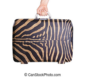 Used plastic suitcase with stains and scratches, zebra print