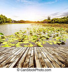 Hangzhou, China - pavilions in a park in Hangzhou, Zhejiang,...