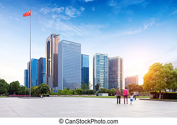 Urban Landscape in Hangzhou, China - Hangzhou, Zhejiang,...