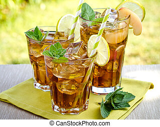 Ice tea - Refreshing peach, lime and mint ice tea served...