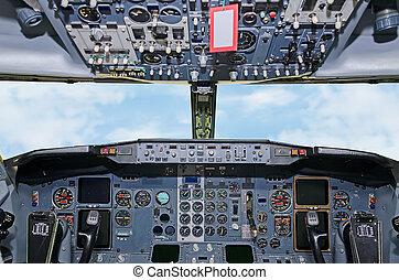 dentro, pilot's, tablero de instrumentos, avión, cabaña,...