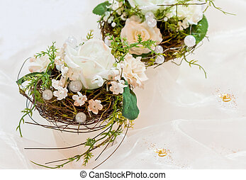 Festive table decoration in creamy white to 50th...