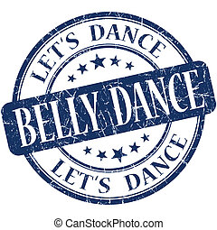 belly dance blue vintage grungy isolated round stamp
