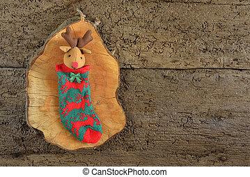Reindeer sock rustic Christmas background