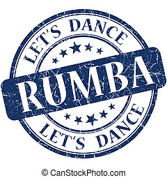Rumba blue vintage grungy isolated round stamp