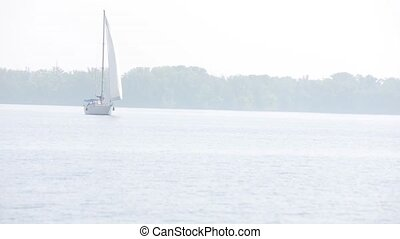 sailing-vessel on the small river - a sailing-vessel...