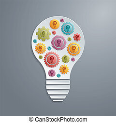 Vector light bulb with cogs gears. Creativity concept.
