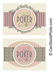 Two old vintage poker banners, vector illustration