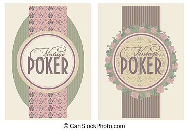 Two vintage poker banners, vector illustration