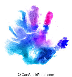 Watercolor hand print - Multicolored human hand print in...
