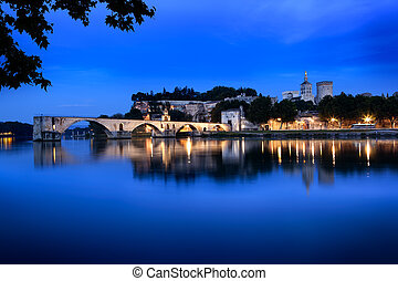 Avignon Bridge, France, viewed at night With the Papal...
