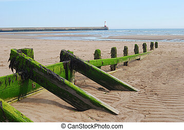 wooden sea barrier at Spittal and lighthouse - sea barrier...