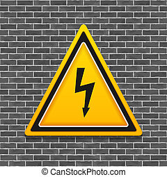 High Voltage - High voltage sign on brick wall, vector eps10...